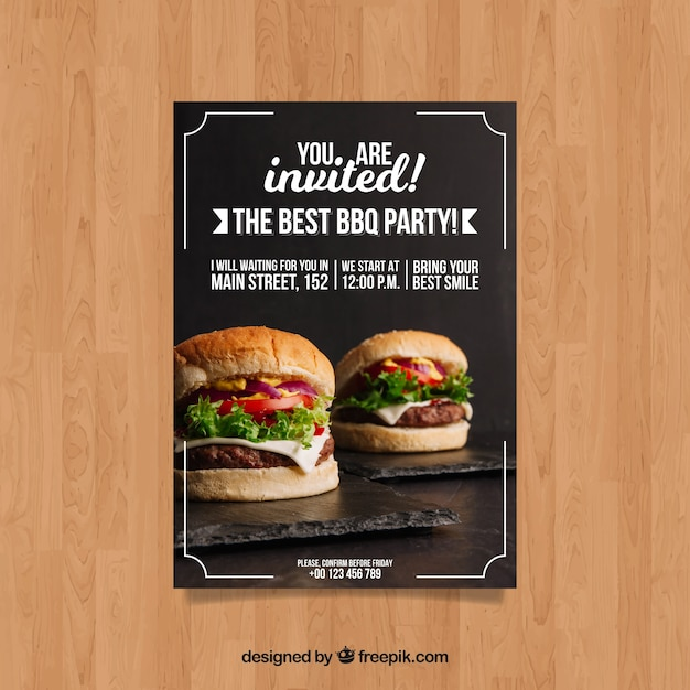 bbq invitation template with hamburger photo vector free download