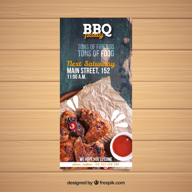 bbq invitation template with photo vector free download