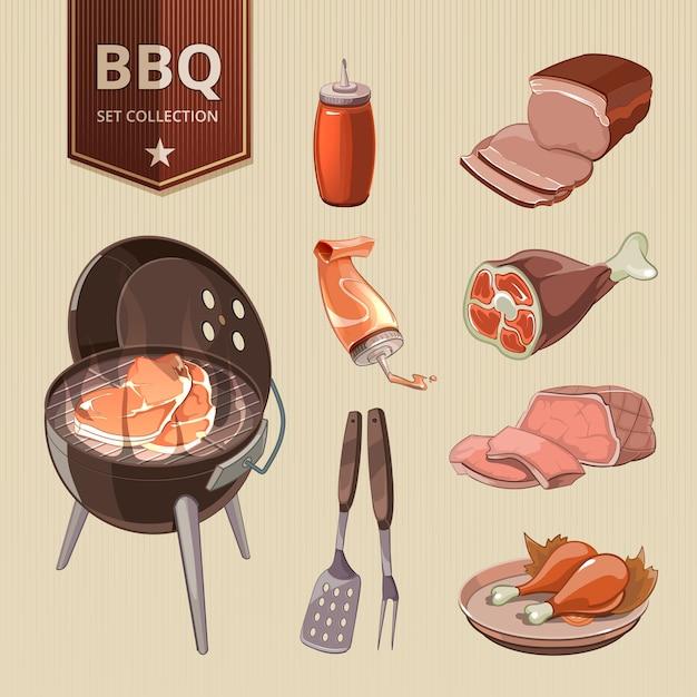 Barbecue a base di carne vettore elementi barbecue vintage. cibo alla griglia, design retrò, set di bistecche calde Vettore gratuito