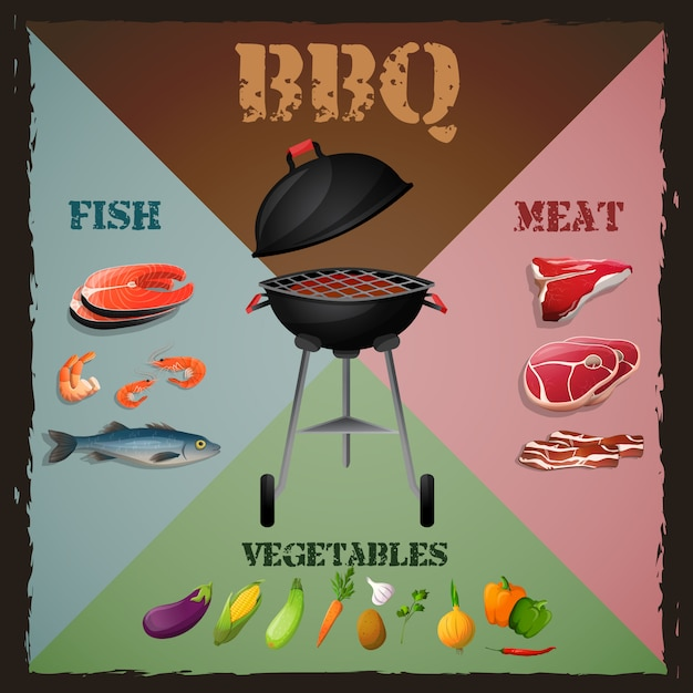 Bbq menu poster Premium Vector