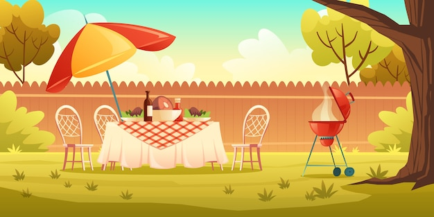 Bbq party on backyard with cooking grill Free Vector