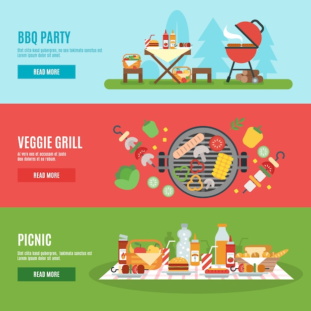 Bbq party banner set Free Vector