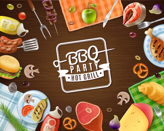Bbq party frame Free Vector