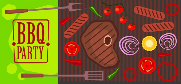 Bbq party illustration of grill, meat, vegetables. Premium Vector