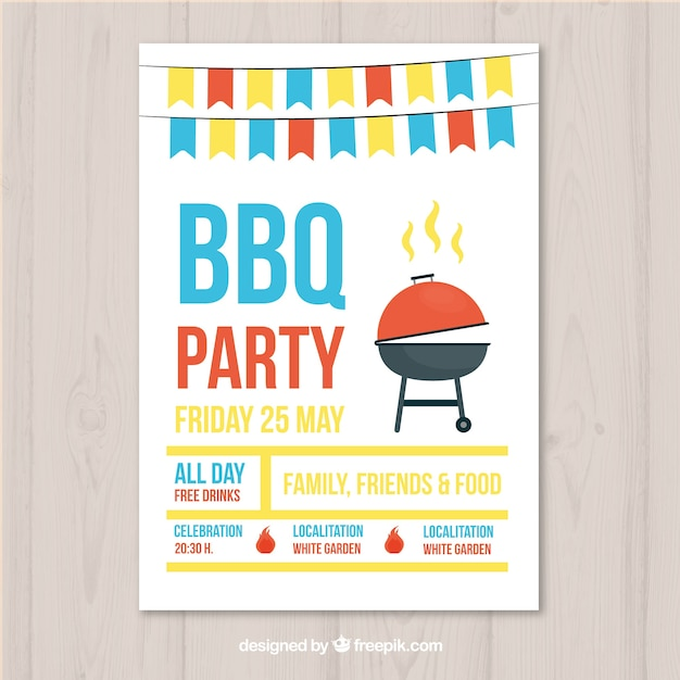 Bbq party invitation in flat design