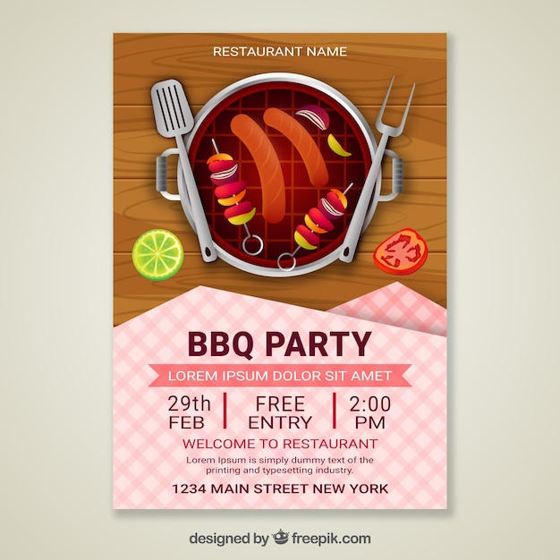 Bbq party invitation in realistic design Free Vector