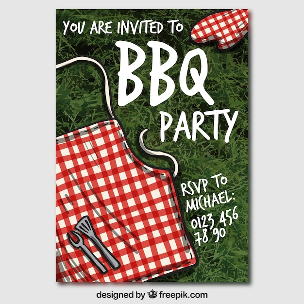 bbq party invitation vector free download