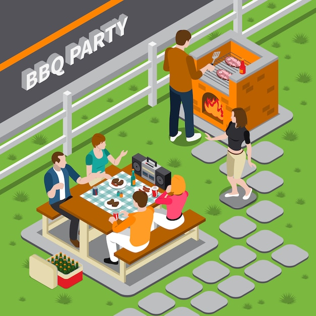 Bbq party isometric composition Free Vector