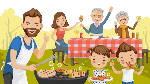 Bbq party party family in the garden. Premium Vector