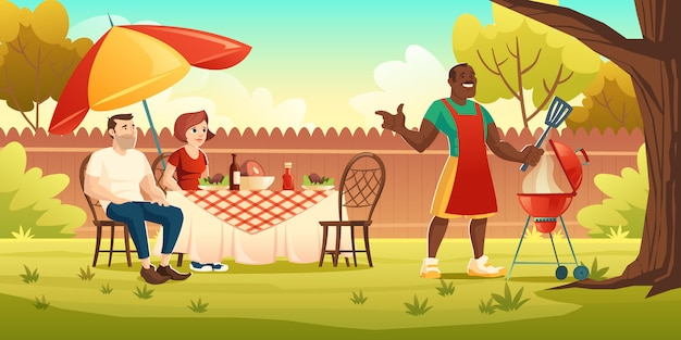 Bbq party, picnic on backyard with cooking grill Free Vector