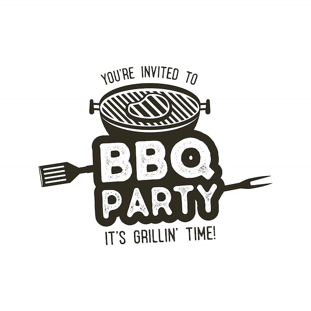 Bbq party typography poster template in retro old style. Premium Vector