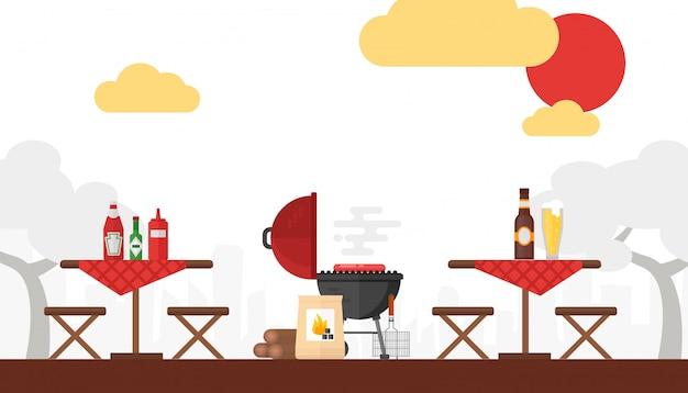 バーベキューピクニックグリル屋外夏の週末の火で調理フラットスタイルのシンプルな背景 Premiumベクター