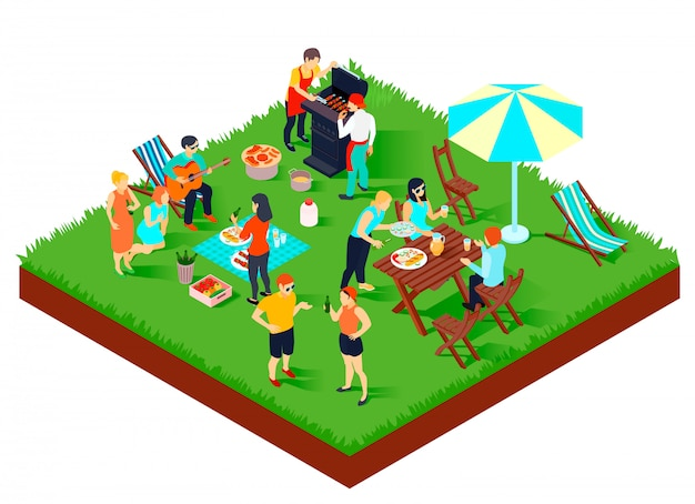 Bbq picnic isometric composition Free Vector