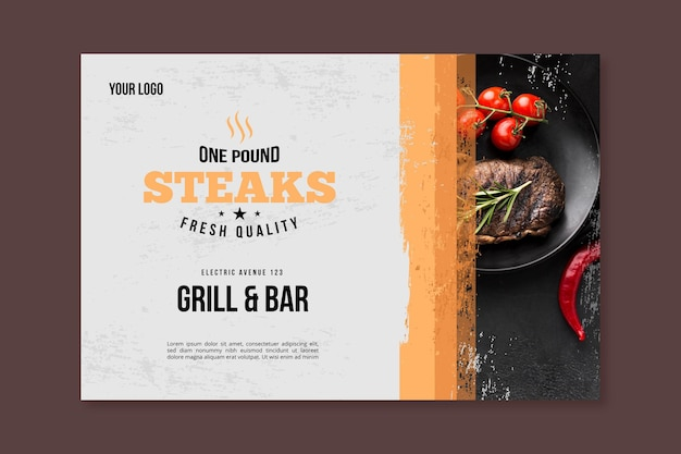 Bbq picnic with cherry tomatoes banner Premium Vector
