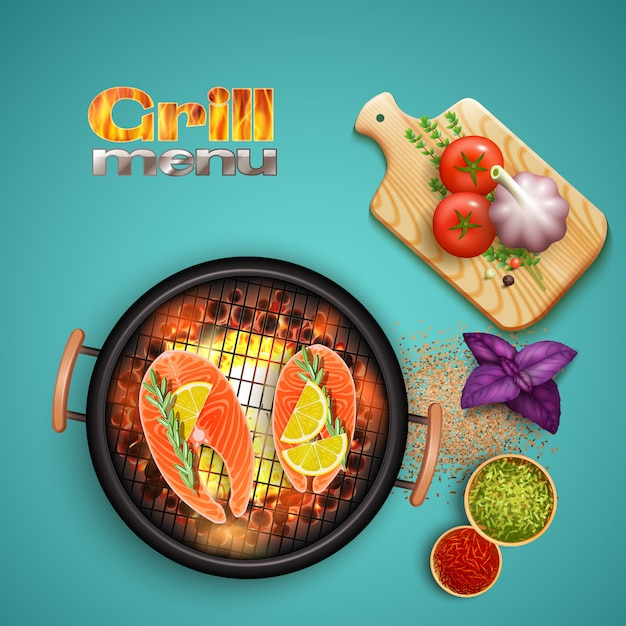 Bbq salmon cooked on grill with lemon and herbs on blue realistic illustration Free Vector