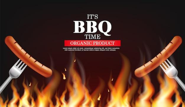 Bbq sausage on fire Premium Vector