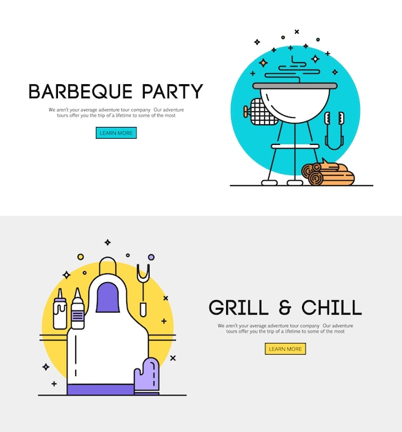 bbq season opening party announcement flat poster with barbeque