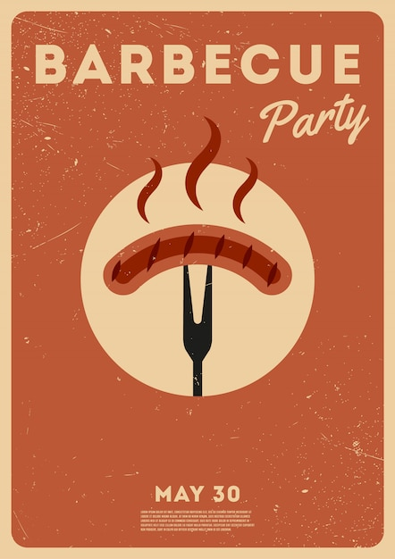 Bbq time. barbecue party. vintage poster. memorial day Premium Vector