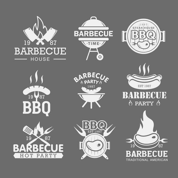 Bbq white logo templates set.roasted pork, sausage on fork stickers. barbeque party stickers Premium Vector