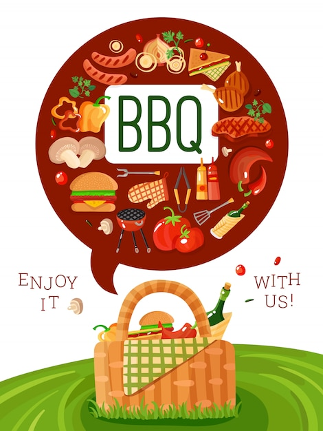 Bbq пикник плоский пригласительный плакат Бесплатные векторы