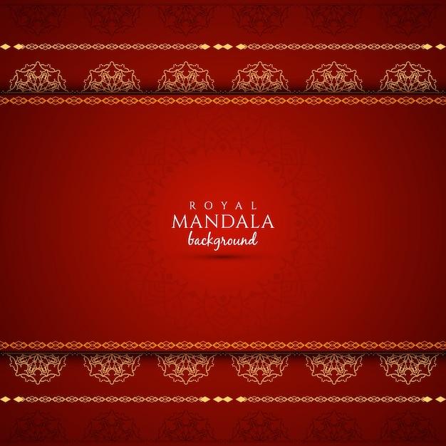 抽象的な赤色の曼荼羅のデザインbckground 無料ベクター