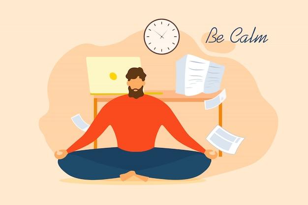 Be calm cartoon man meditate in office Premium Vector