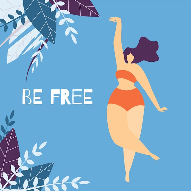 Be free woman motivational lettering flat banner Premium Vector