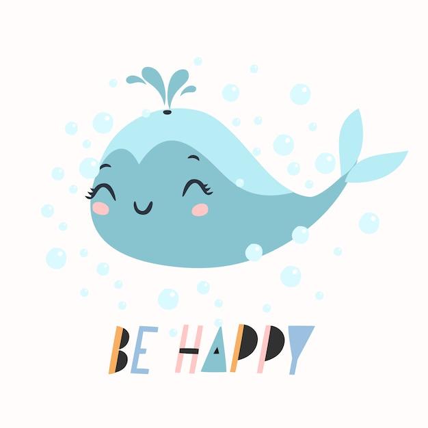 Будь счастлив текст с милой иллюстрацией кита Бесплатные векторы