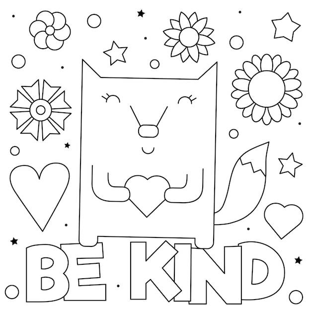 Premium Vector Be Kind. Coloring Page. Black And White