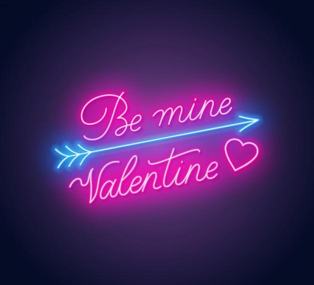 Be mine valentine neon lettering Premium Vector