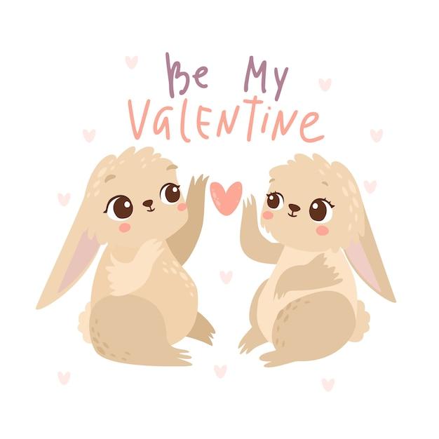 내 발렌타인 토끼 인사말 카드 무료 벡터