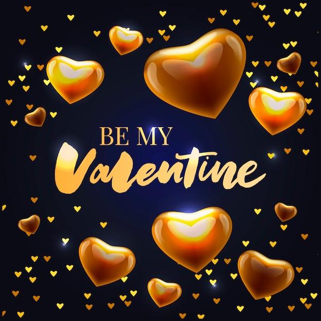Be my valentine calligraphic lettering design card Premium Vector