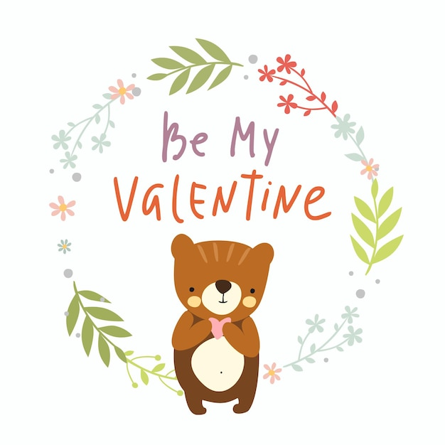 Be my valentine, greeting card Free Vector