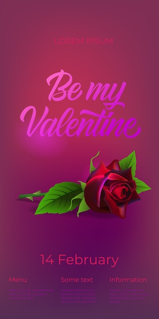 Be my valentine lettering with rose Free Vector