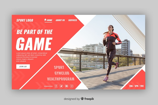 Be part of the game sport landing page Free Vector