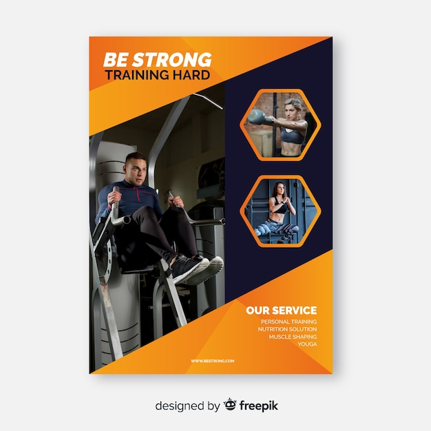 Be strong sport flyer with photo Free Vector