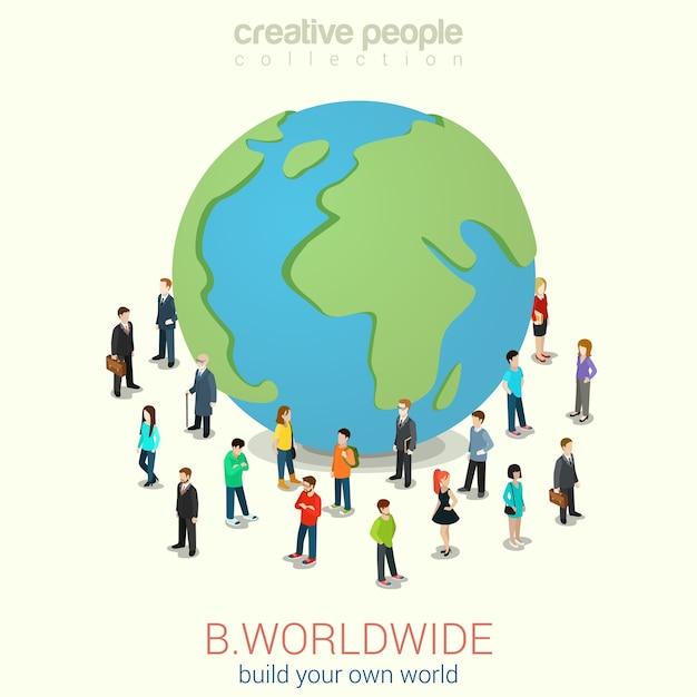 Sii globalizzazione cosmopolita in tutto il mondo Vettore gratuito