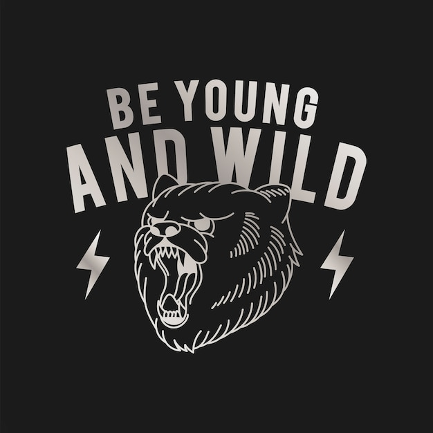 Be young and wild logo vector Free Vector