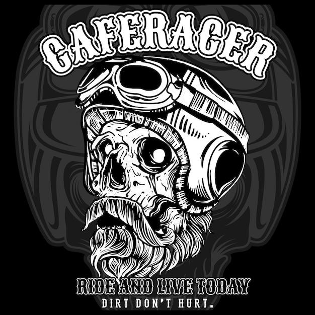 ヘルメットとbeの口ひげとゴーグルを身に着けているオートバイの頭蓋骨 Premiumベクター