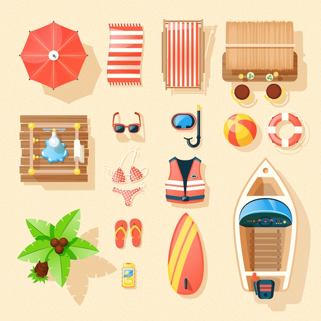 Beach accessories top view icons collection Free Vector