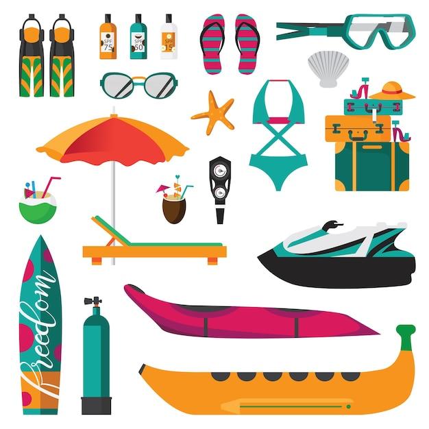 Набор иконок пляжных мероприятий Бесплатные векторы