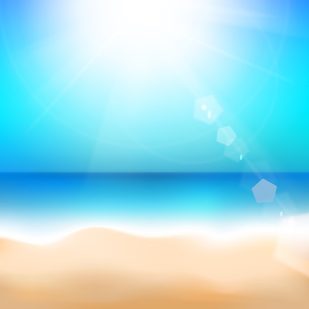 Beach and tropical sea. Free Vector