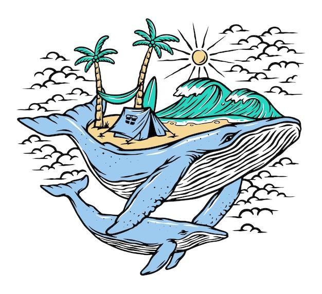 Иллюстрация пляжа и китов Premium векторы