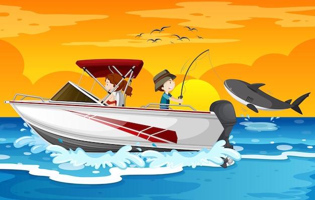 Пляж на закате с детьми на скоростном катере Premium векторы