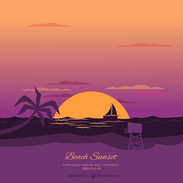 Beach background at sunset
