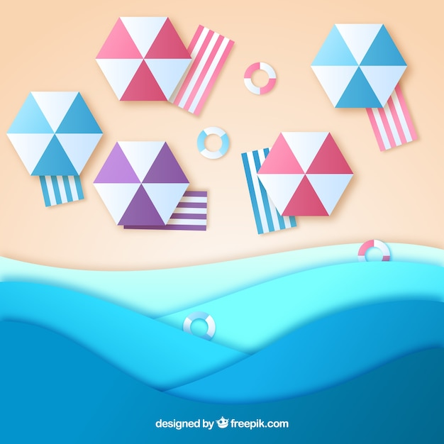 Beach background from the top in paper\ texture