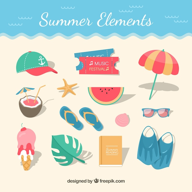 Beach background with flat elements in top view Free Vector