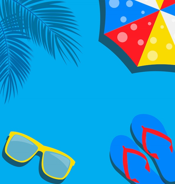 Beach background with  flip flop, palm, umbrella and glasses  illustration Premium Vector