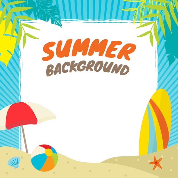 Beach background with frame Vector | Free Download