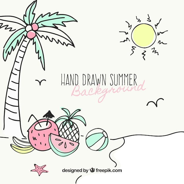 Beach background with hand-drawn summer\ items